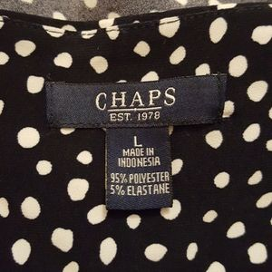 Chaps Dresses - Chaps navy-white polka dots dress sz LARGE